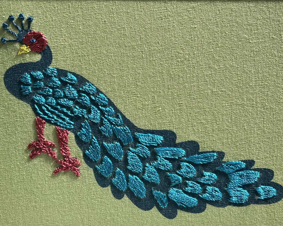 Fair Trade Embroidered Peacock Greeting Card