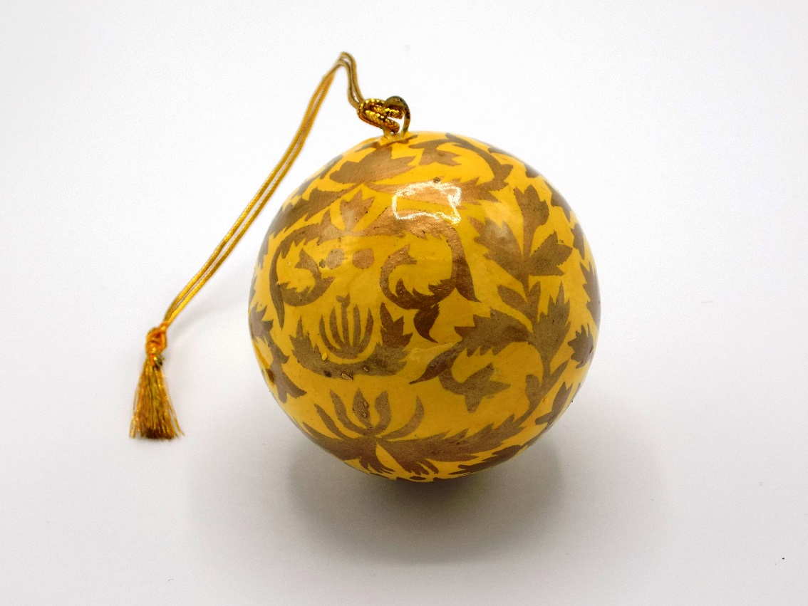 St Paul's Cathedral Fair Trade Kashmir Yellow Bauble